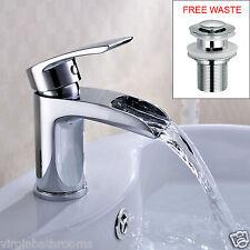 VIRGO WATERFALL BATHROOM TAP BASIN MONO MIXER CHROME SOLID BRASS *FREE WASTE*