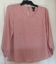NWT, Rue 21 blouse, dusty rose color, rhinestones/faux pearls,size S, 3/4 sleeve