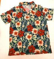 Camiseta de chico tipo polo estampado floral tono rojo   - talla L