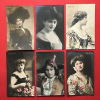 6 x Schauspieler Foto AK 1907/09/10 Geraldine Farrar, Czerci Werner  ( 48346