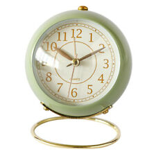 Bedside Silent Analog Alarm Clock with Night Light Battery Powered Green