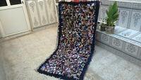 3 x 6 ft Vintage Handmade Moroccan Beni Ourain Boucherouite Rug Carpet