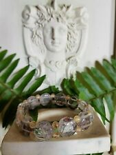 antique style 12MM Natural Gemstone Round FACETED RUTILATED QUARTZ Bracelet