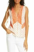 Rebecca Taylor Womens Blouse Tomato Beige Medium M Button-Frot Silk $295 034