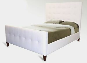 Modern Ultrasuede Queen Bed, buttonless Tufted Headboard in an Array of Colours.