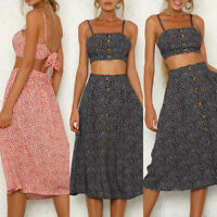 Women Strappy Printed Dress Vest Tank Top Two-Piece Sling Long Skirt Sets L