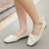 Fashion Womens Lace Crochet Ballet Flat Comfy Slip On Loafers Ballerina Shoes