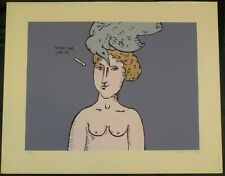 Vintage Serigraph Surreal Nude Woman by Israeli Artist Benjamin Levy Listed