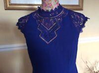 Monsoon Cobalt Blue Crail Dress - Size 8 BNWT Posting Daily Hols