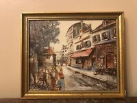 Wood Framed French Folk Art Signed and Dated depicting Paris Street Scene