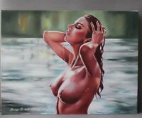 Oil painting on canvas (handmade) nude girl 16 x 12 inches