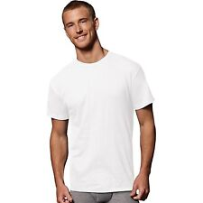 $75 HANES Men WHITE CREW NECK COTTON UNDERSHIRT T-SHIRT TOP SLEEVE 5 PACK L