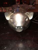 Vintage LEONARD Silver Plate Piggy Bank Hong Kong Pig Great Deal For The Price
