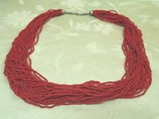 VINTAGE RED CORAL 30 STRAND NECKLACE SILVERPLATE BEADS CLASP