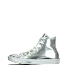 Converse Chuck Taylor Chrome Hi Women's Trainers Shoes Silver UK 5