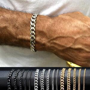 3/5/7 mm Stainless Steel Curb Cuban Link Chain Bracelet Unisex Women Men Fashion