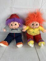 "Lot Of 2 Vintage Norfin Troll Dolls Parachute Trolls 18"""