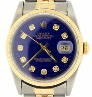 Mens Rolex Datejust 18k Gold Steel Watch with Submariner Blue Diamond Dial 16233