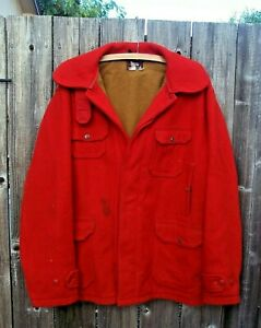 Vintage 1950s Woolrich Red Wool Mackinaw Cruiser Hunting Coat Field Jacket Sz 46