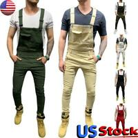 US Men Denim Bib Pants Cargo Jumpsuits Suspender Overalls Casual Straight Jeans