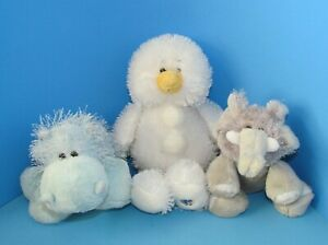 Webkinz Lot of 3 Plushies Hippo Snowman and Elephant No Code by Ganz L@@K