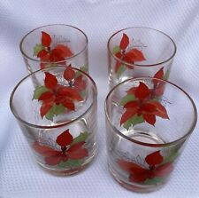 Set of 4 Poinsettia Motif Short 12oz Glass Tumblers Crisal Portugal Holiday Gems