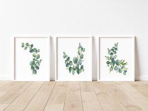 A4 or A5 Set of 3 Modern Wall Art Prints Botanical Green Living Room Bedroom