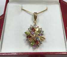 14k Yellow Gold Sterling Silver Multi Gemstone Peridot Amethyst Pendant Necklace