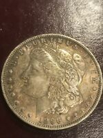 1896-O Morgan Silver Dollar AU Toned Raw Almost Uncirculated Coin