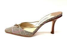 JIMMY CHOO Camel/Brown/Pink Plaid Canvas Leather Trim Hi-Heel Slip-On Mules Sz36
