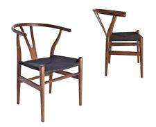 Classic Mid-Century Design Dark Walnut Wishbone Dining Chair Black Seat - 2x Pcs