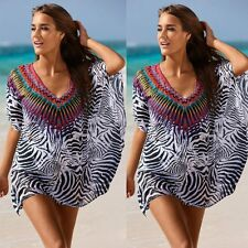 Sexy Women Summer Chiffon Kaftan Bikini Swimwear Cover Up Beach Short Mini Dress