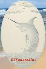 Oval 10x16 MARLIN STATIC CLING WINDOW DECAL for Glass - Tropical Fishing Decor