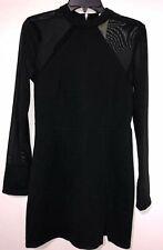 Women's Dress Material Girl Black Mini Sheer Long Sleeves Regular Size M NWT