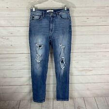 Kancan High Rise Destroyed Skinny Jeans Size 9 Stretch 28x30 Mid/Light Wash