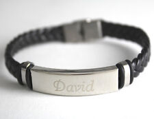 DAVID - Bracelet With Name - Leather Braided Engraved - Gifts For Him