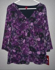 212 COLLECTION Top Purple Floral Shirred V-Neck Ruching Sides Nylon XL NWT