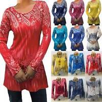 Womens Boho Paisley Long Sleeve T-Shirt Blouse Loose Fit Tunic Shirts Tops Tee