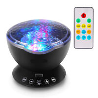 Calming LED Light Projector Relax Ocean Wave Night Music Projection Kids Sleep