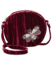 Steve Madden NWT $78 Lotus Mini Canteen Butterfly Burgundy Velvet Crossbody