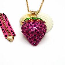 Hot Crystal Rose Red Strawberry Enamel Betsey Johnson Pendant Sweater Necklace