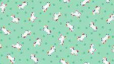 """FANTASY Unicorns on TurquoiseCotton fabric Makower Size 22""""x18"""" larger available"""