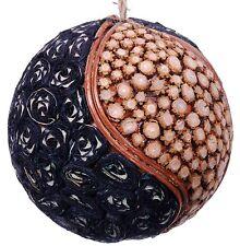 Wood Slice Mosaic Leaf Decorative Ball Ornament Natural Christmas Tree New 531e