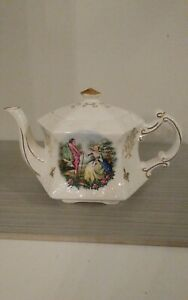 Ellgreave Teapot Ironstone England Marked Ralph 1750 Moses 1751 Courting Scene