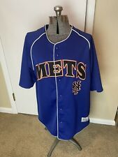 Ny Mets True Fan Series Baseball Jersey Mlb Size Large 42/44 Nice Logos Blue Euc