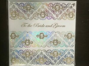 Gorgeous Embossed PAPYRUS Wedding Card - To the Bride & Groom, Gold & Silver