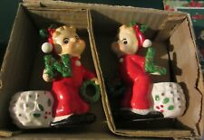 "Vintage Commodore Christmas "" Noel "" Cherub figurine candle holders in box"