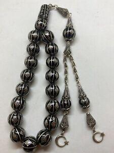 Yusr Turkish Oltu Stone Misbaha Tasbih Islamic Prayer Beads Mascot Heavy Silver