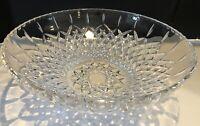 """Vintage 12""""  Pedestal Round Pressed Glass Serving Bowl"""