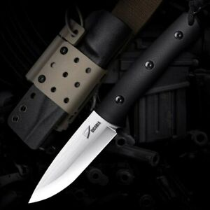 """Drop Point Knife Fixed Blade Hunting Wild Tactical Combat D2 Steel G10 Handle 4"""""""
